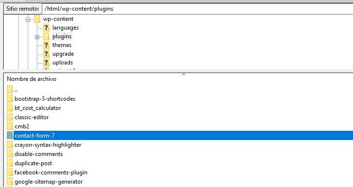 Filezilla subir plugin contact form 7 para worpress
